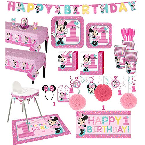 1st Birthday Minnie Mouse Deluxe Party Kit For 16 Guests With Decorating Kits Walmart Com Walmart Com