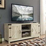 Manor Park Modern Farmhouse Barn Door Tv Stand For Tvs Up To 65 White Oak Walmart Com Walmart Com