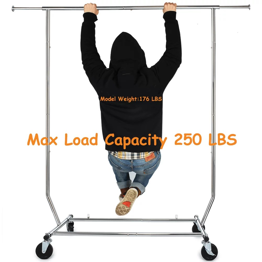 250 lbs heavy duty clothing garment rack commercial rolling clothes rack on wheels adjustable collapsible chrome finish walmart com