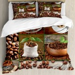 Brown Duvet Cover Set Collage Of Coffee Beans In Cups And Bags With Green Leaves On Wooden Table Photo Decorative Bedding Set With Pillow Shams Brown Green By Ambesonne Walmart Com