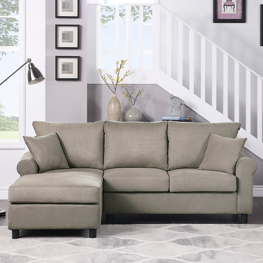 veryke linen reversible sectional sleeper sofa l shaped couch with removable grey