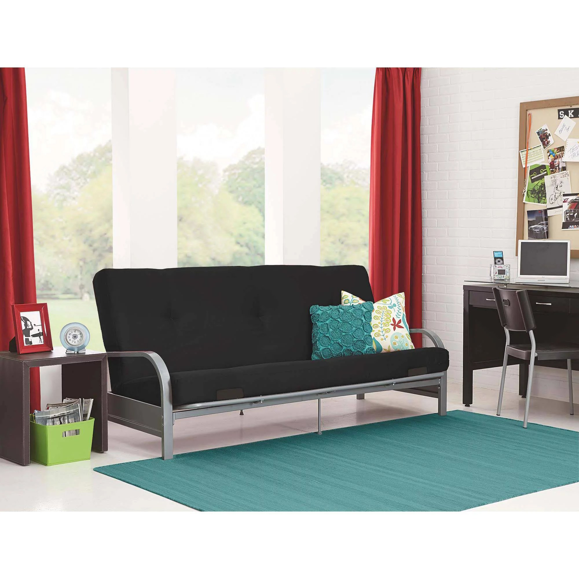 better homes and gardens mission wood arm futon - walmart