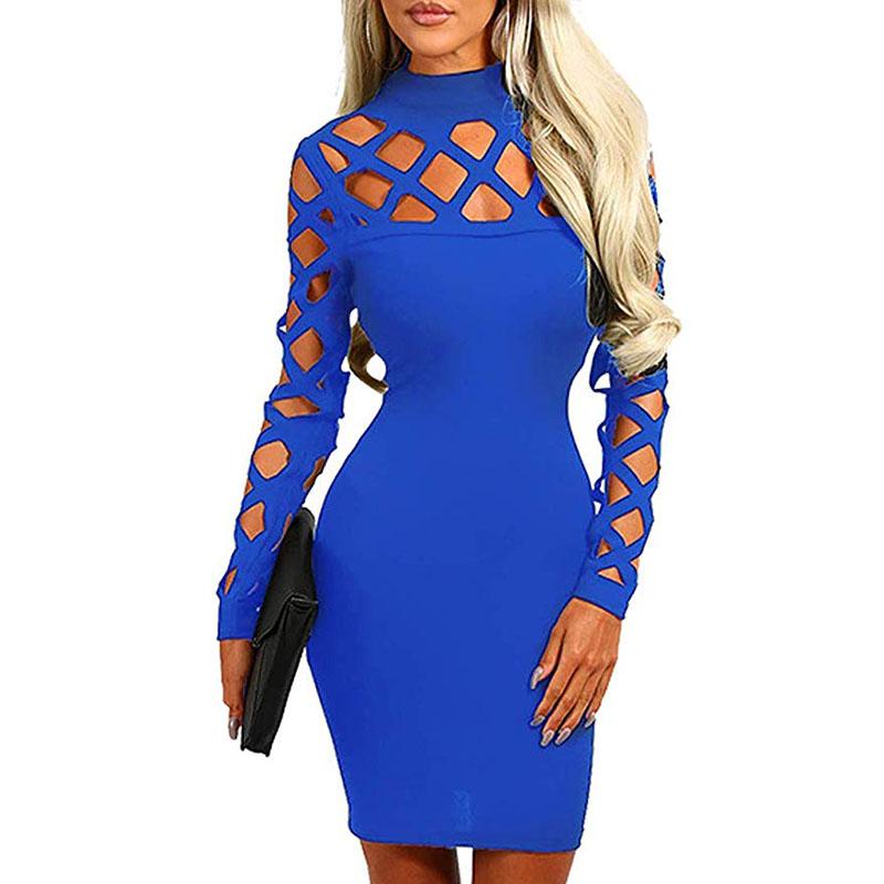 women s long sleeve hollow out dress bandage clubwear bodycon dresses