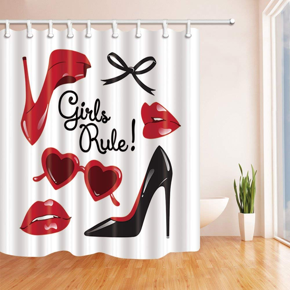 wopop fashion woman makeup decor vector high heeled shoes with red lips polyester fabric bathroom shower curtain 66x72 inches