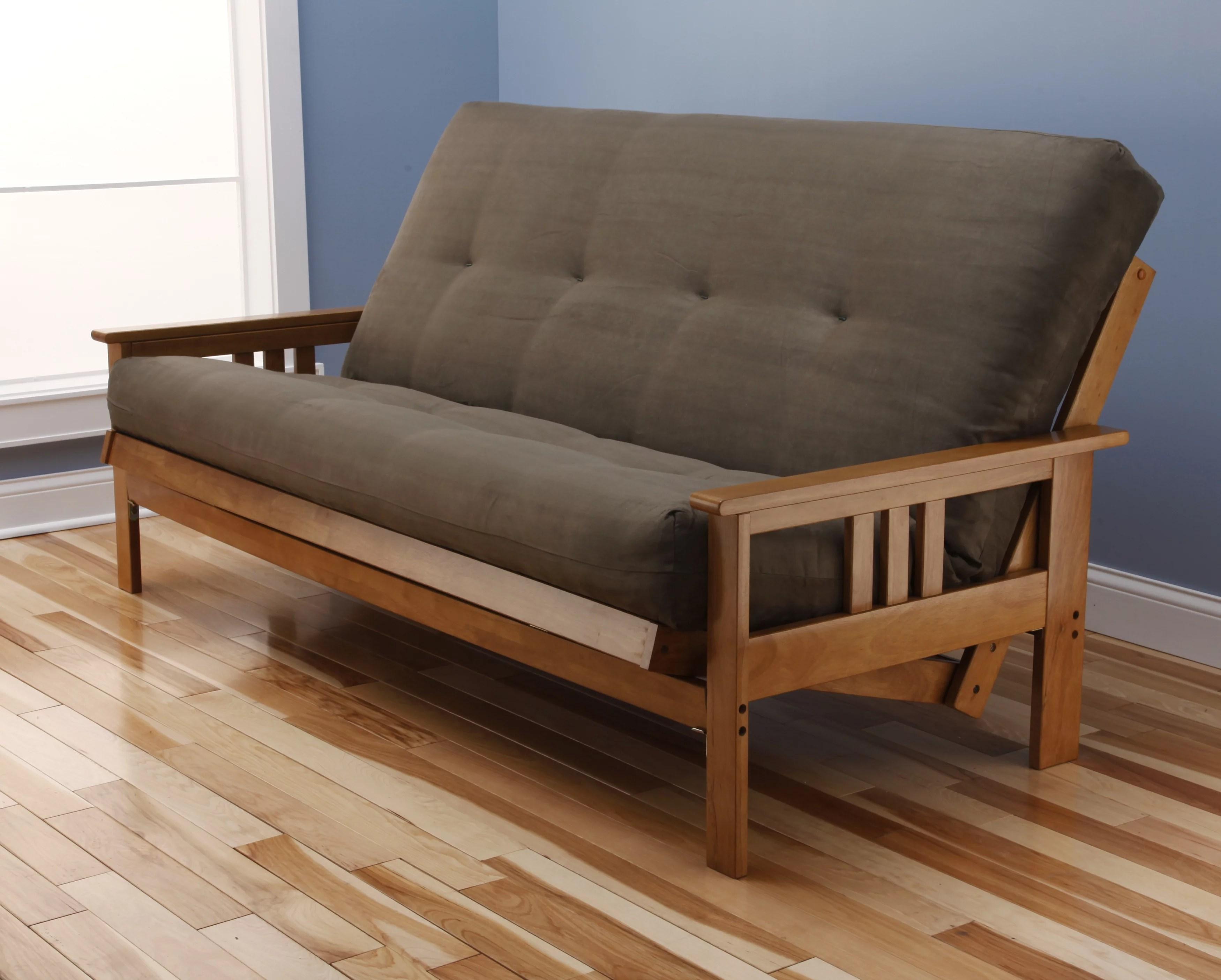 andover full size futon sofa bed honey oak wood frame suede innerspring mattress walmart com