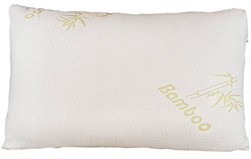 bamboo pillow firm shredded memory foam stay cool removable cover with zipper hotel quality hypoallergenic firm pillow relieves snoring