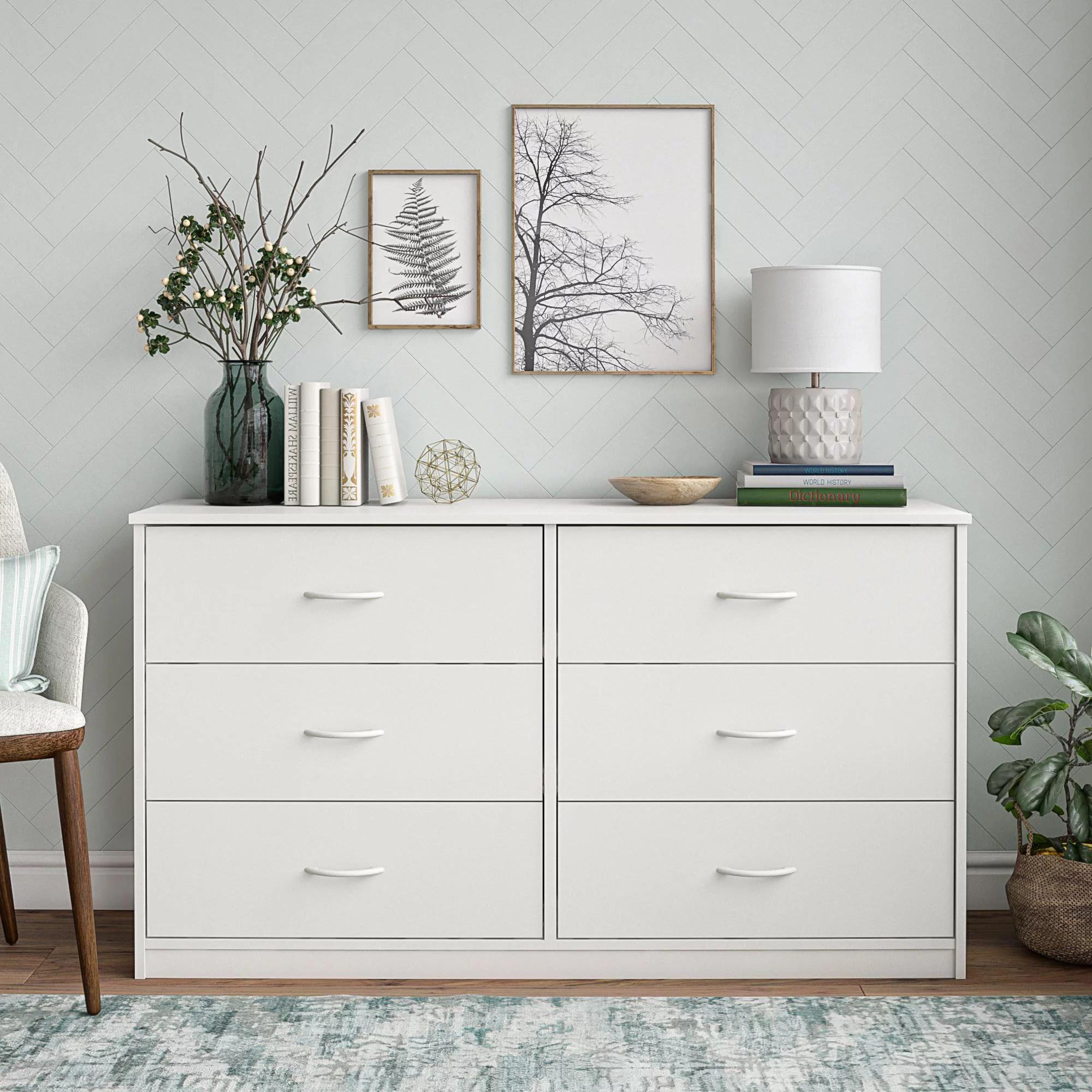 mainstays classic 6 drawer dresser white finish