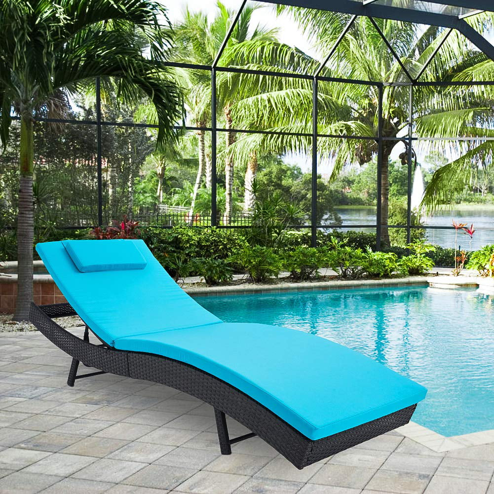 suncrown pool chaise lounge chair outdoor patio furniture adjustable folding wicker couch bed with blue cushion walmart com