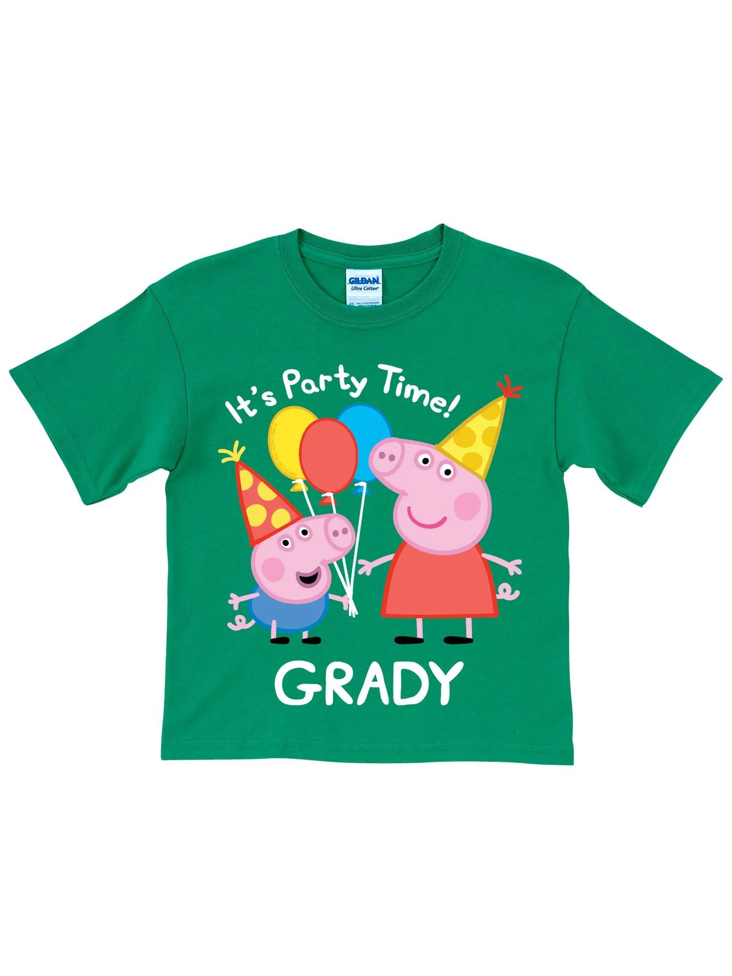 Personalized Peppa Pig Peppa And George Birthday Green Boys T Shirt Walmart Com Walmart Com