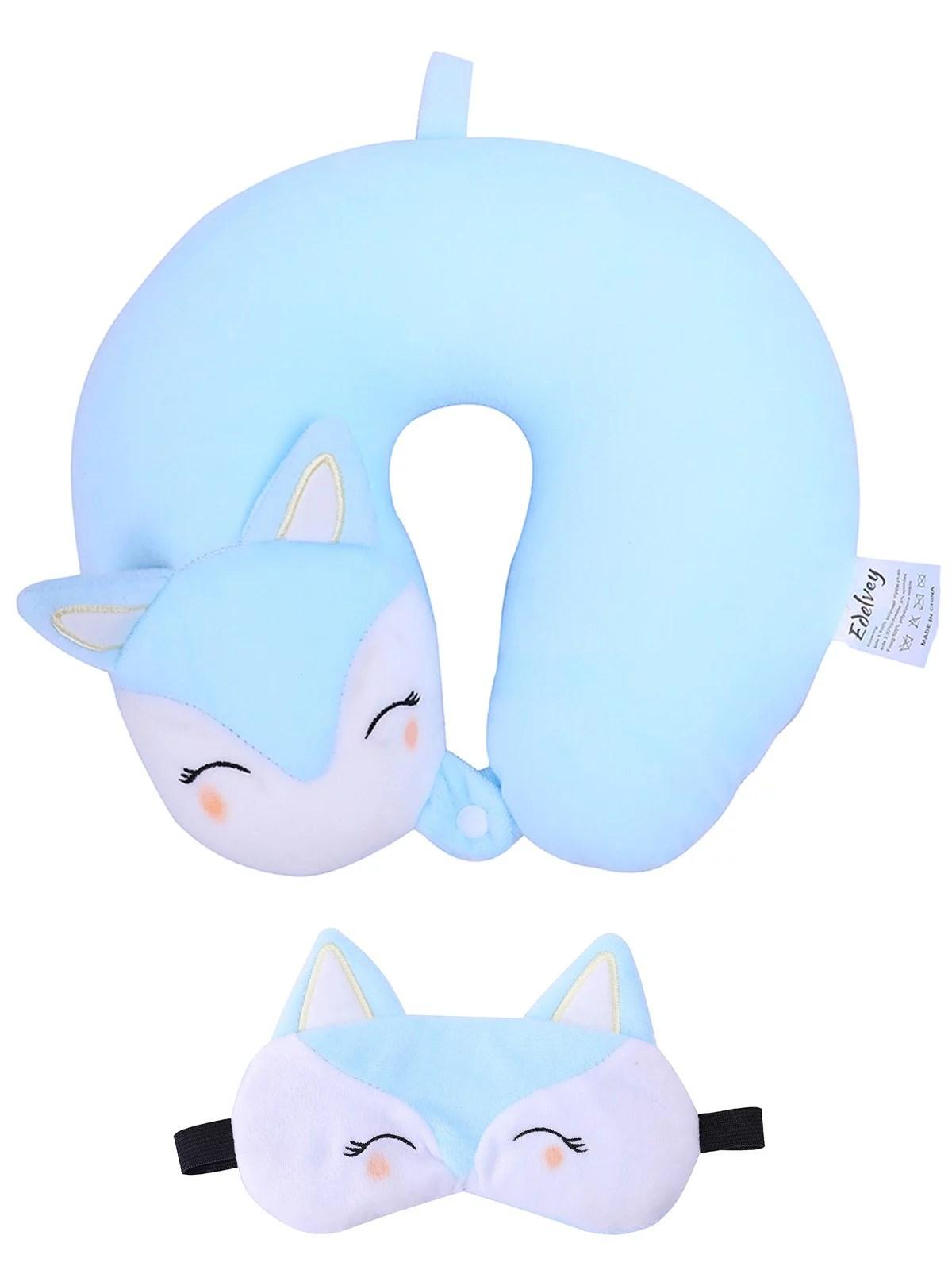 edelvey edelvey kids travel plush neck pillow with mask for girls cat walmart com