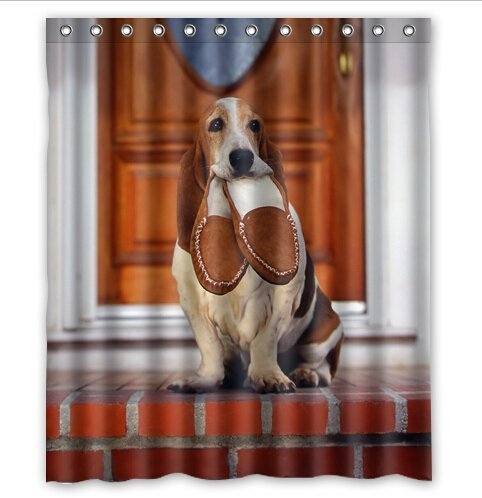 greendecor basset hound training waterproof shower curtain set with hooks bathroom accessories size 60x72 inches