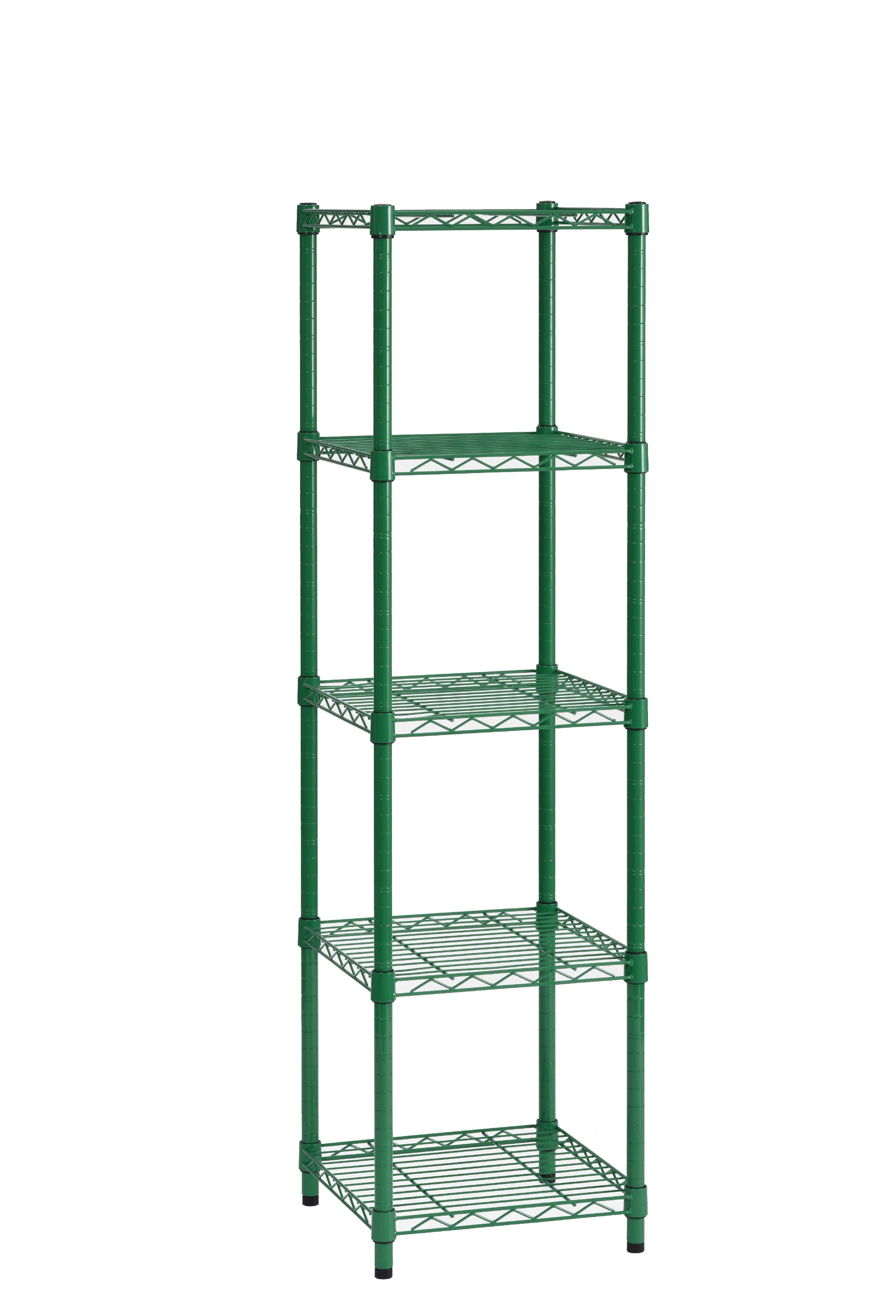 muscle rack 5 shelf wire shelving green 16 d x 16 w x 57 h