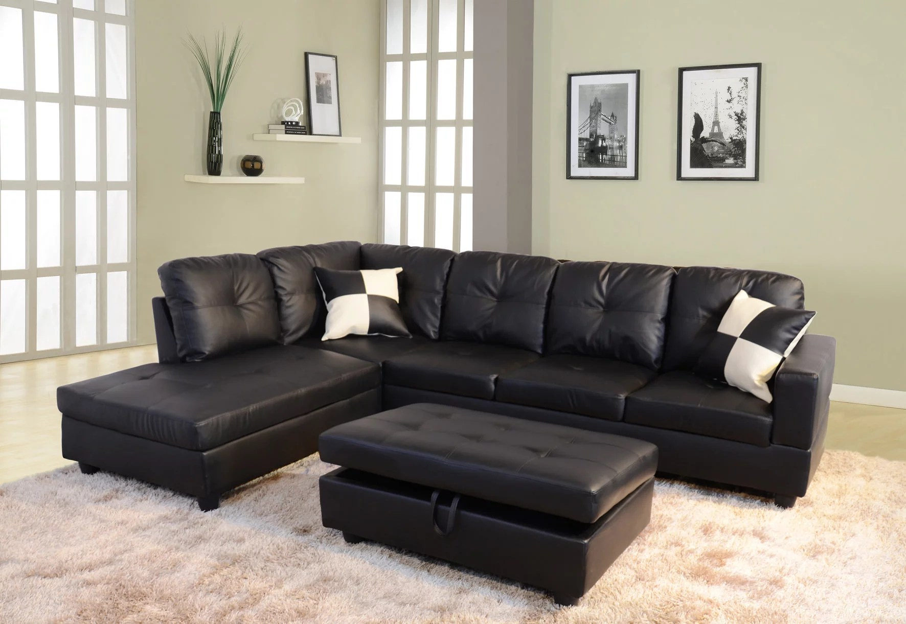 raphael faux leather left facing sectional sofa with ottoman multiple colors walmart com
