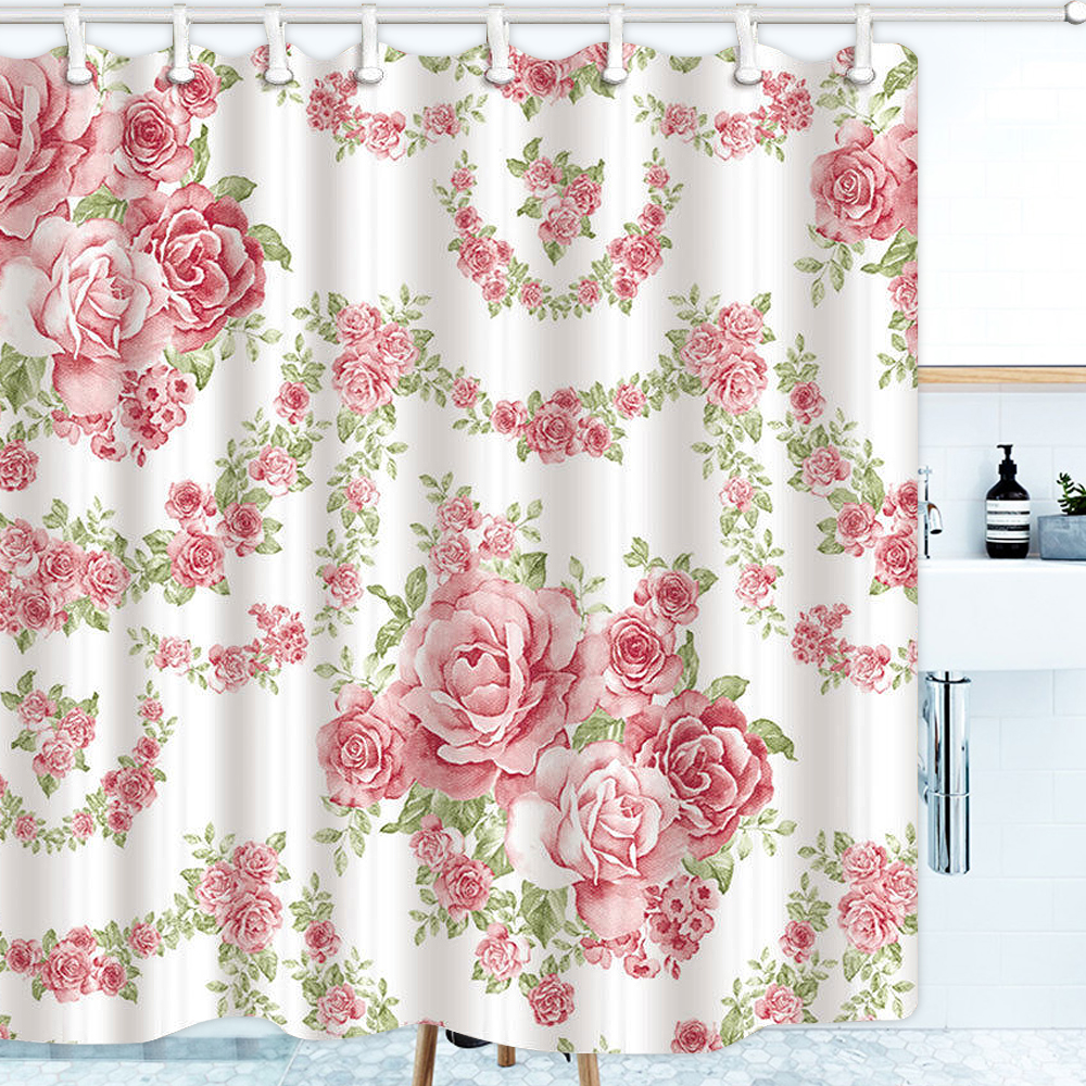 shower curtain pink roses flower bath set vine pattern waterproof non slip with plastic hooks bathroom toilet 180x180cm