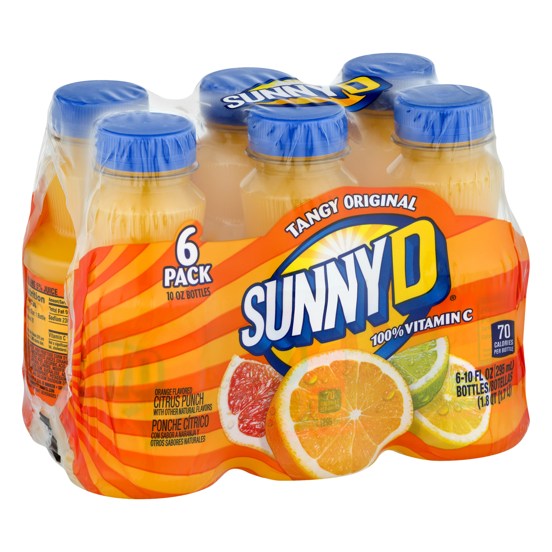 (4 Pack) Sunny D Juice, Orange, 10 Fl Oz, 6 Count