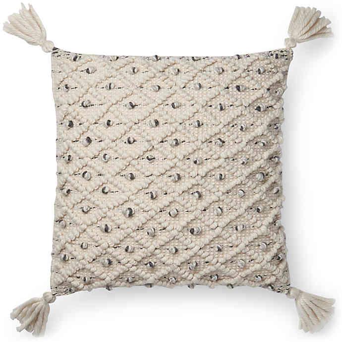 magnolia home jana square throw pillow in ivory black walmart com