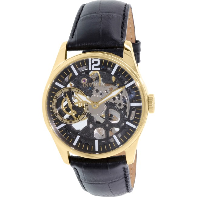 Invicta Men's Vintage 12405 Black Leather Automatic Fashion Watch