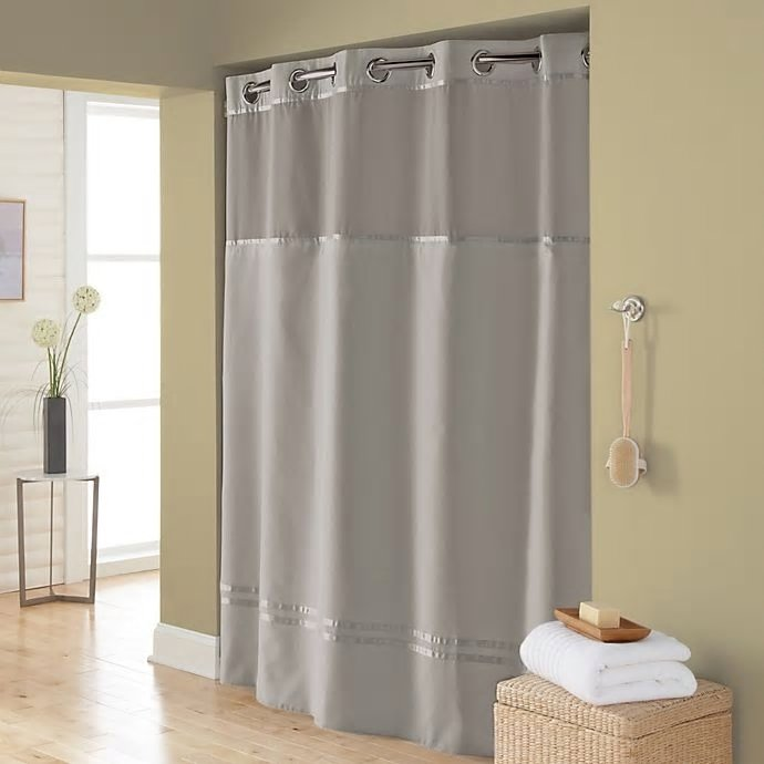 hookless escape 71 inch x 86 inch long fabric shower curtain and liner set in grey walmart com