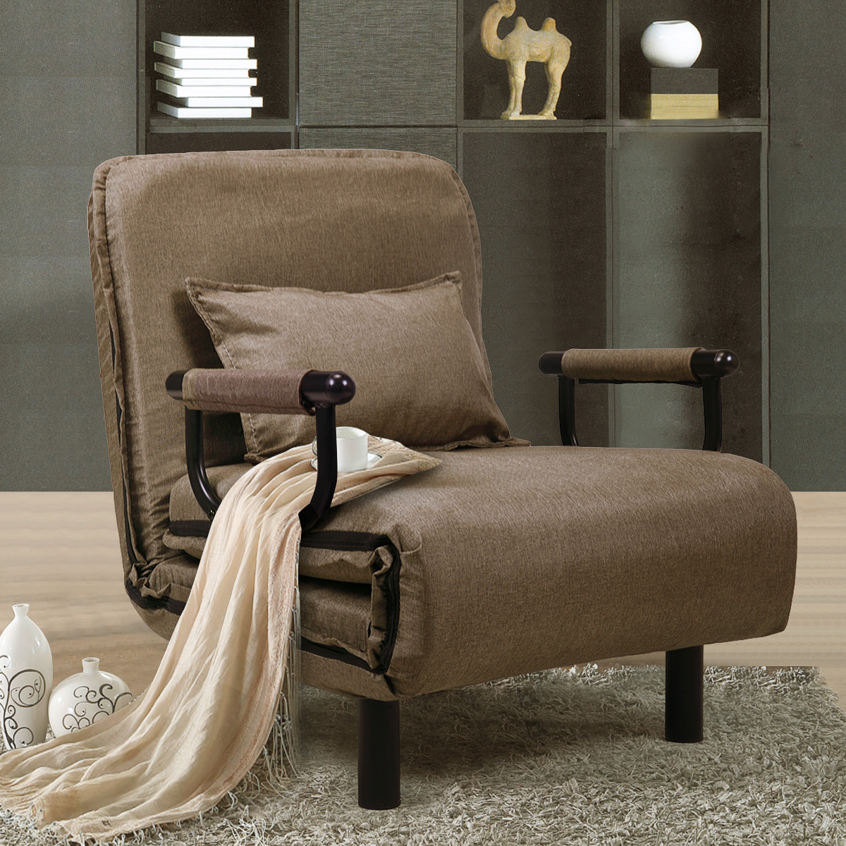 jaxpety fabric folding chaise lounge sofa chair couch with armrest and pillow brown