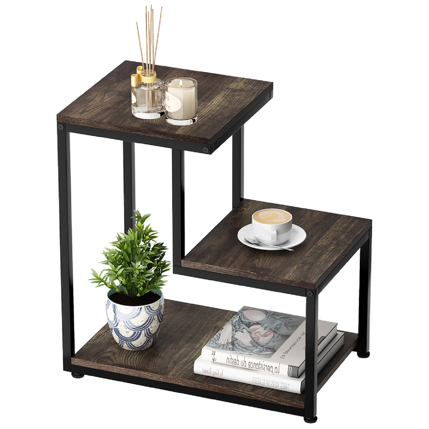 rustic large end table wooden 3 tier sofa side table with storage shelf for living room ladder nightstand for bedroom easy assembly rustic brown