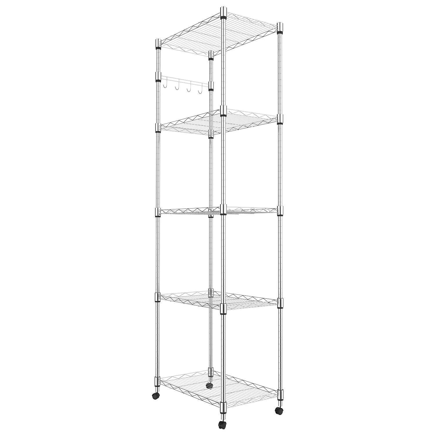 hot 5 tier steel wire shelving rack on wheels for storage in kitchen 72inch height 5 tier shelf free 2 day delivery
