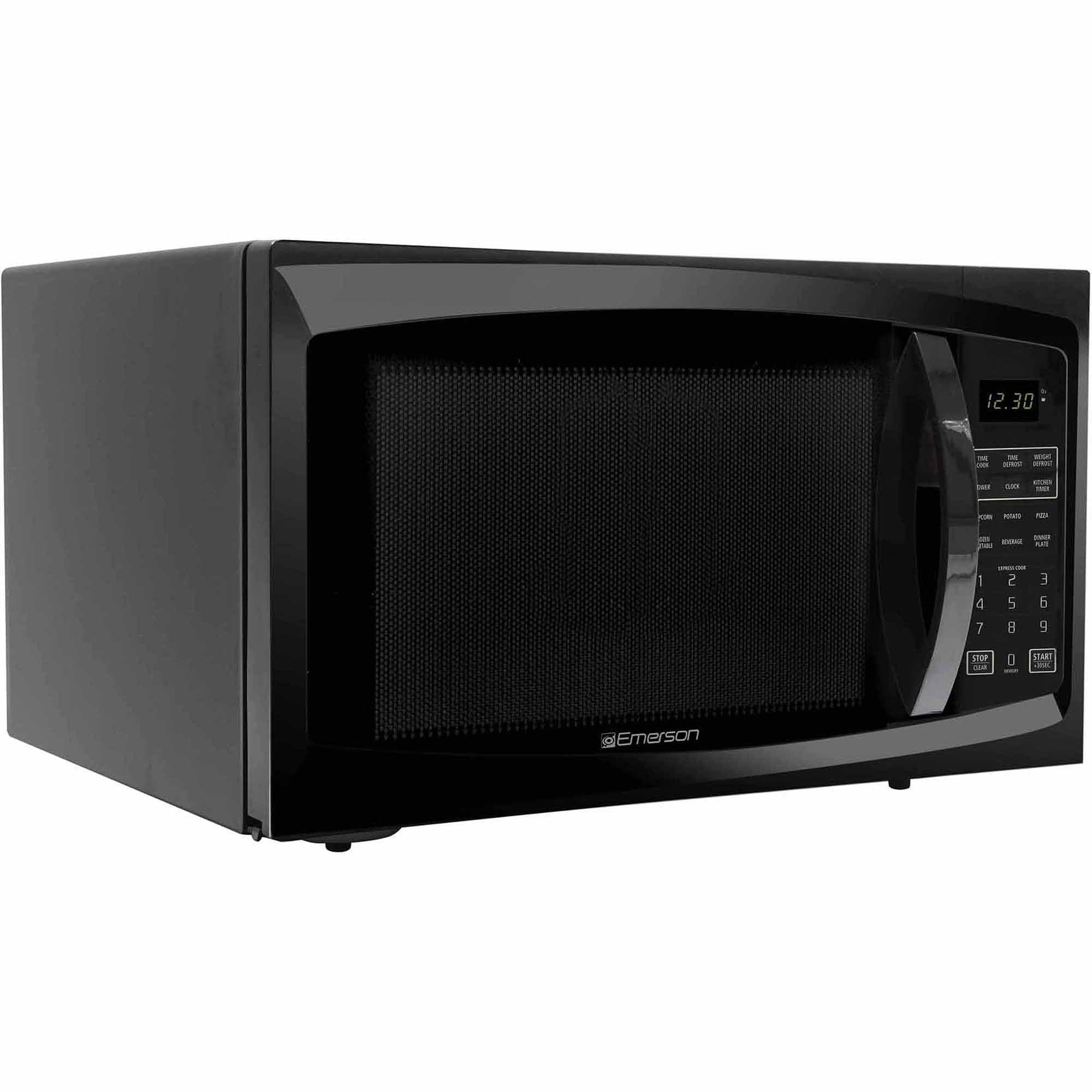 refurbished emerson 1 6 cu ft 1100 watt microwave oven black