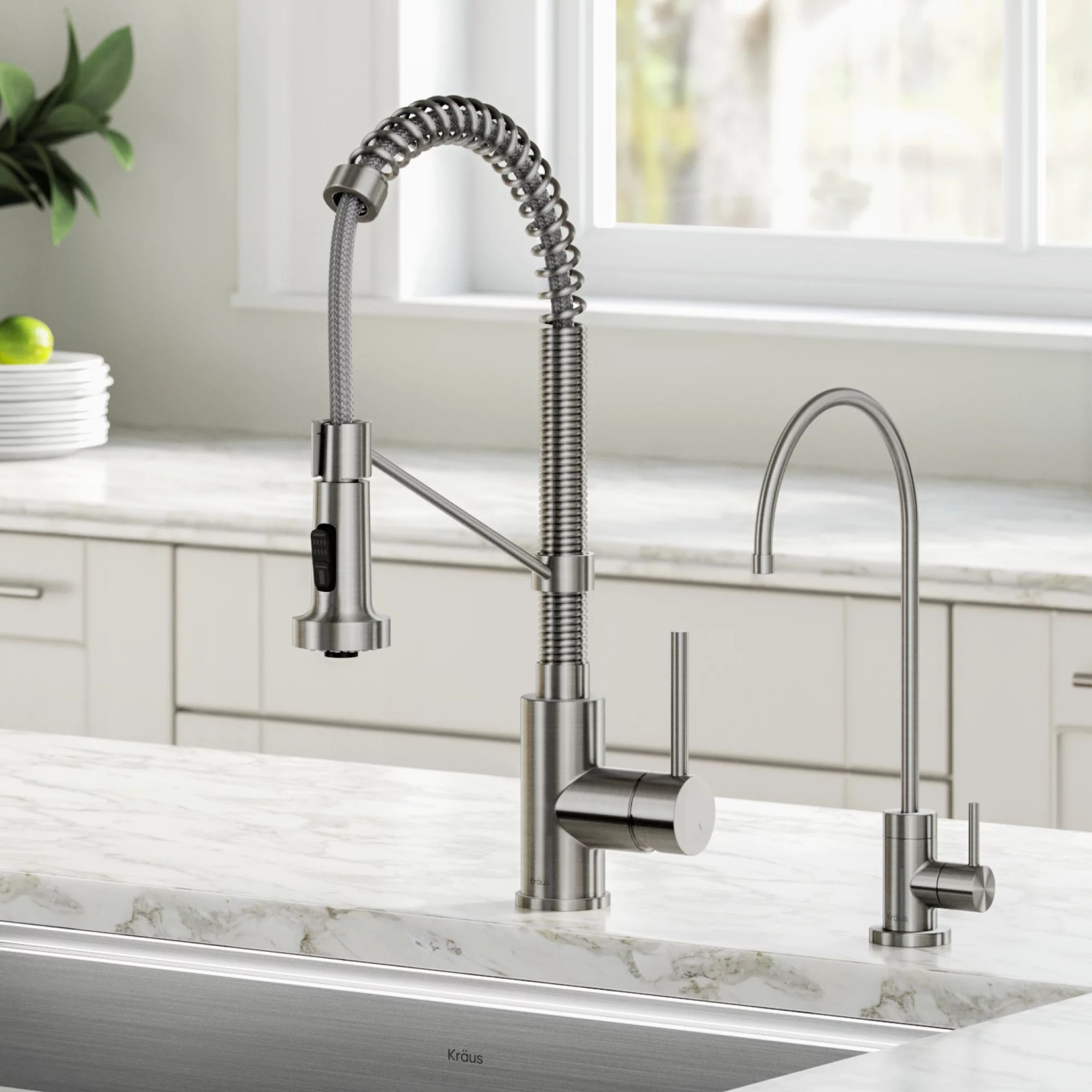 kraus bolden commercial style pull down kitchen faucet and purita water filter faucet combo in spot free stainless steel walmart com