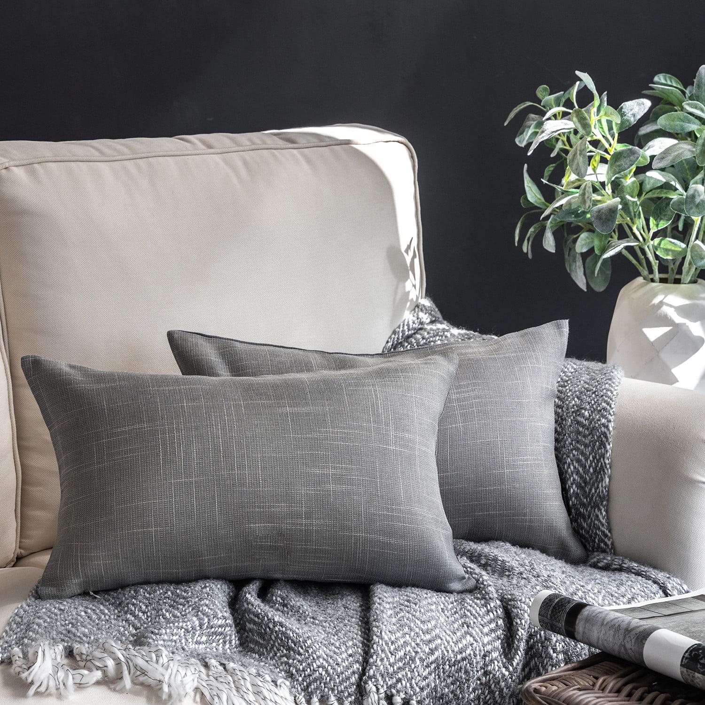 phantoscope soft textured linen burlap series decorative throw pillow 12 x 20 gray 2 pack walmart com