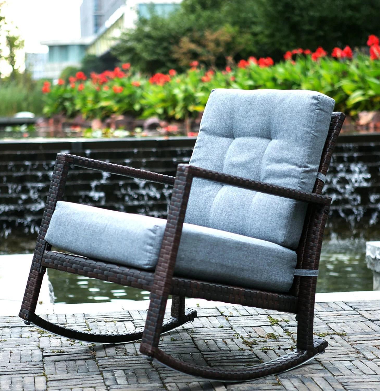 merax cushioned rattan rocker chair rocking armchair chair outdoor patio glider lounge wicker chair furniture with cushion