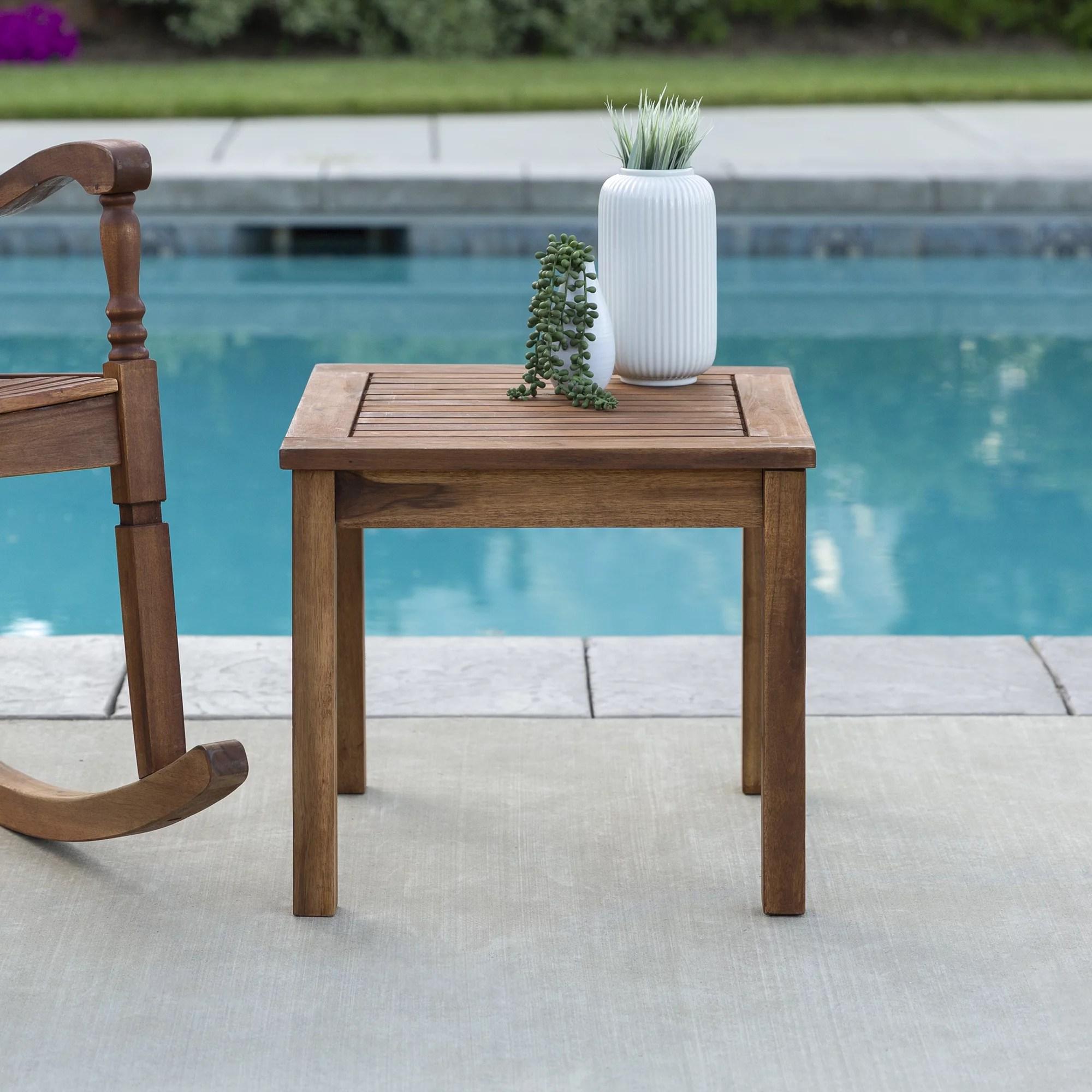manor park acacia wood outdoor patio end table brown