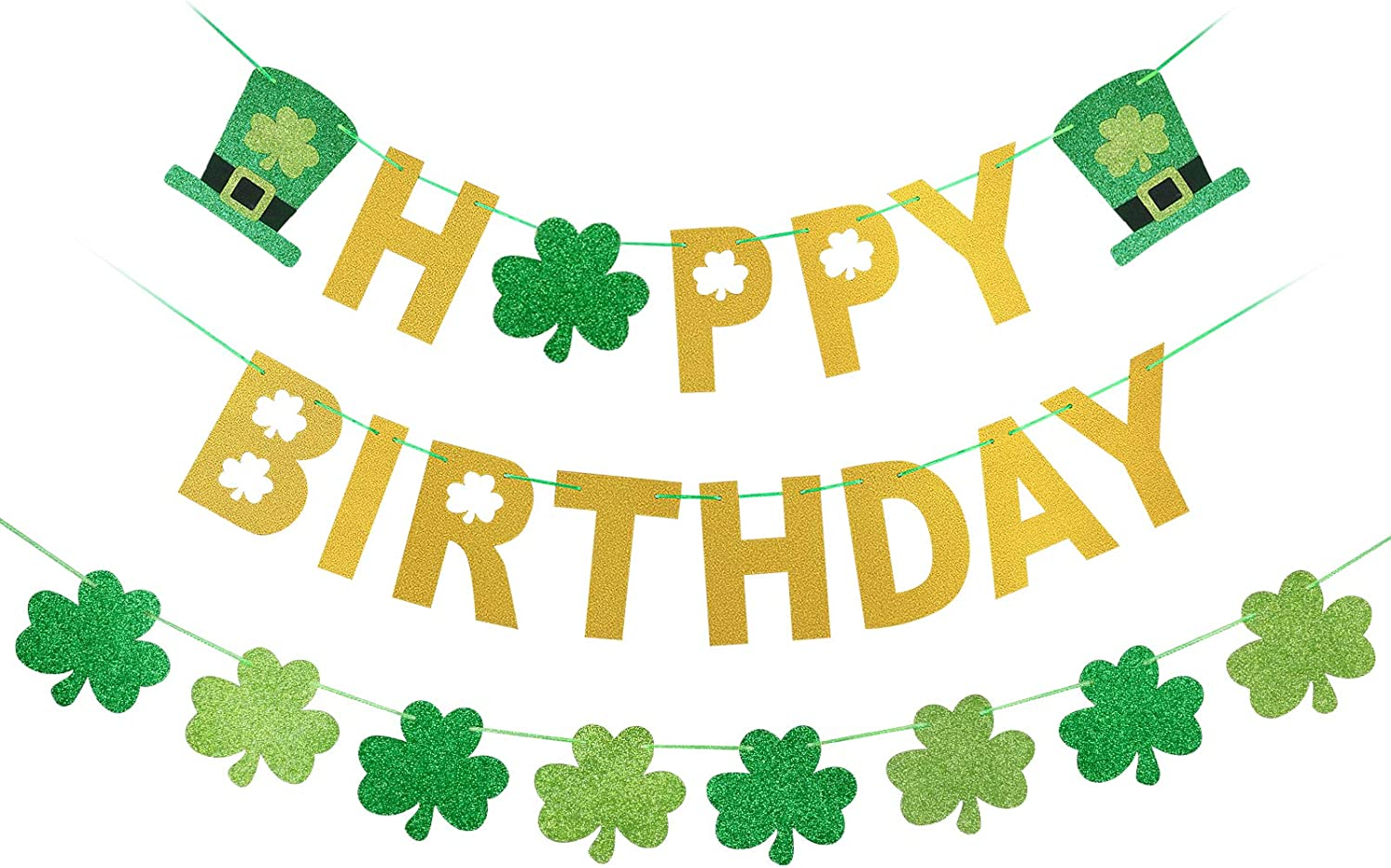 St Patrick S Day Happy Birthday Banner Shamrock Clover Banner For St Patricks Day Birthday Decorations St Patrick Decorations Irish Party Home Outdoor Supplies Decor Gold And Green Glittery Walmart Com