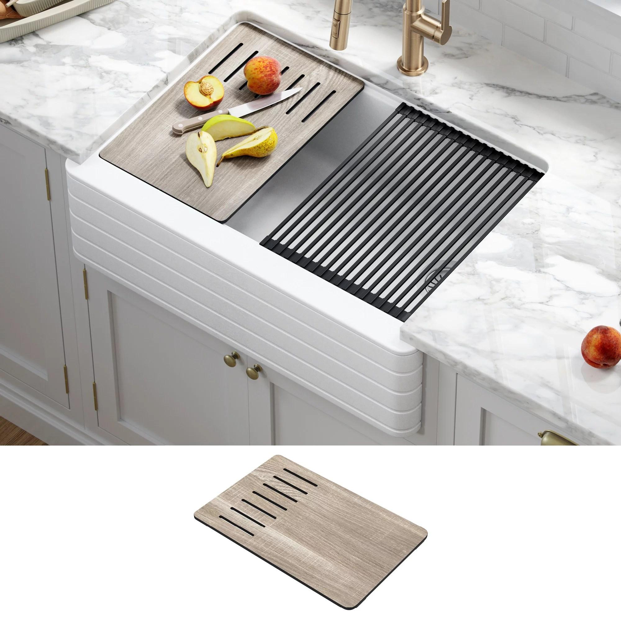 kraus bellucci workstation 30 inch farmhouse apron front granite composite single bowl kitchen sink in white with accessories walmart com