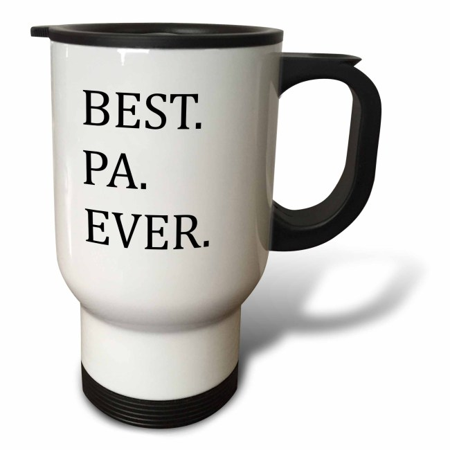 3dRose Best Pa Ever - Gifts for dads - Father nicknames - Good for Fathers day - black text, Travel Mug, 14oz, Stainless Steel