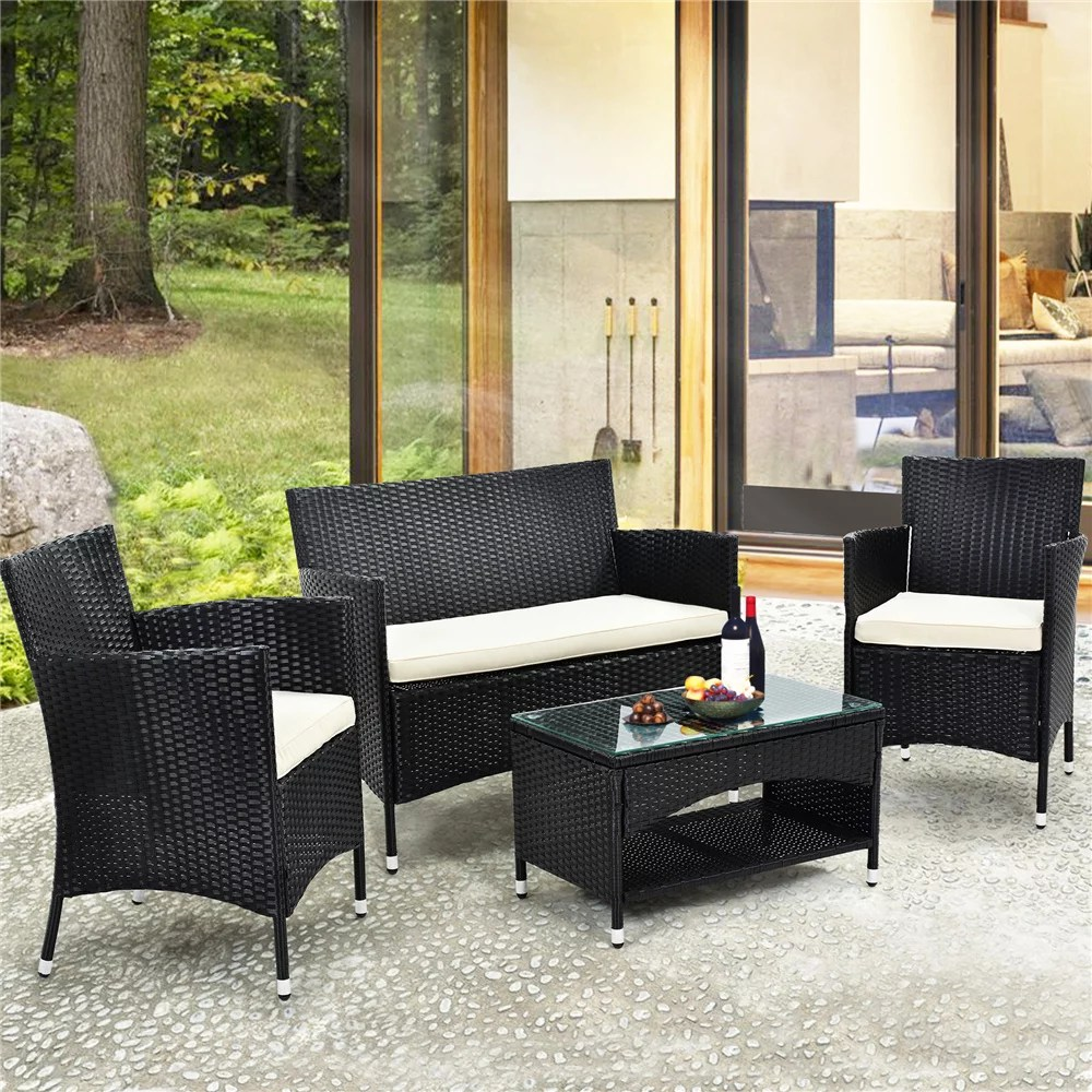 clearance outdoor patio furniture set 4 piece patio conversation set with glass dining table loveseat cushioned wicker chairs modern outdoor