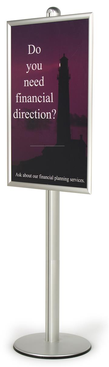 sign stand for 24 x 36 poster front loading frame is height adjustable along the pole floor standing poster holder silver brushed aluminum