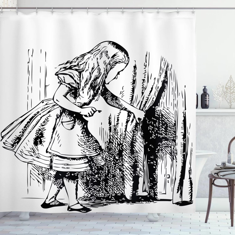 alice in wonderland shower curtain black and white alice looking through curtains hidden door adventure fabric bathroom set with hooks black white