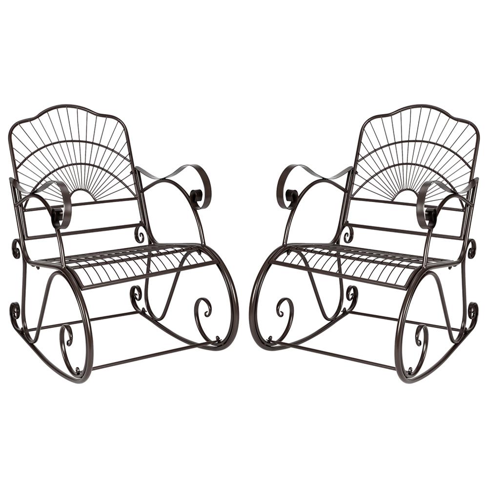 2 piece porch rocking chair outdoor wrought iron rocking chairs patio furniture set heavy duty garden single rocking chair patio rocker for lawn