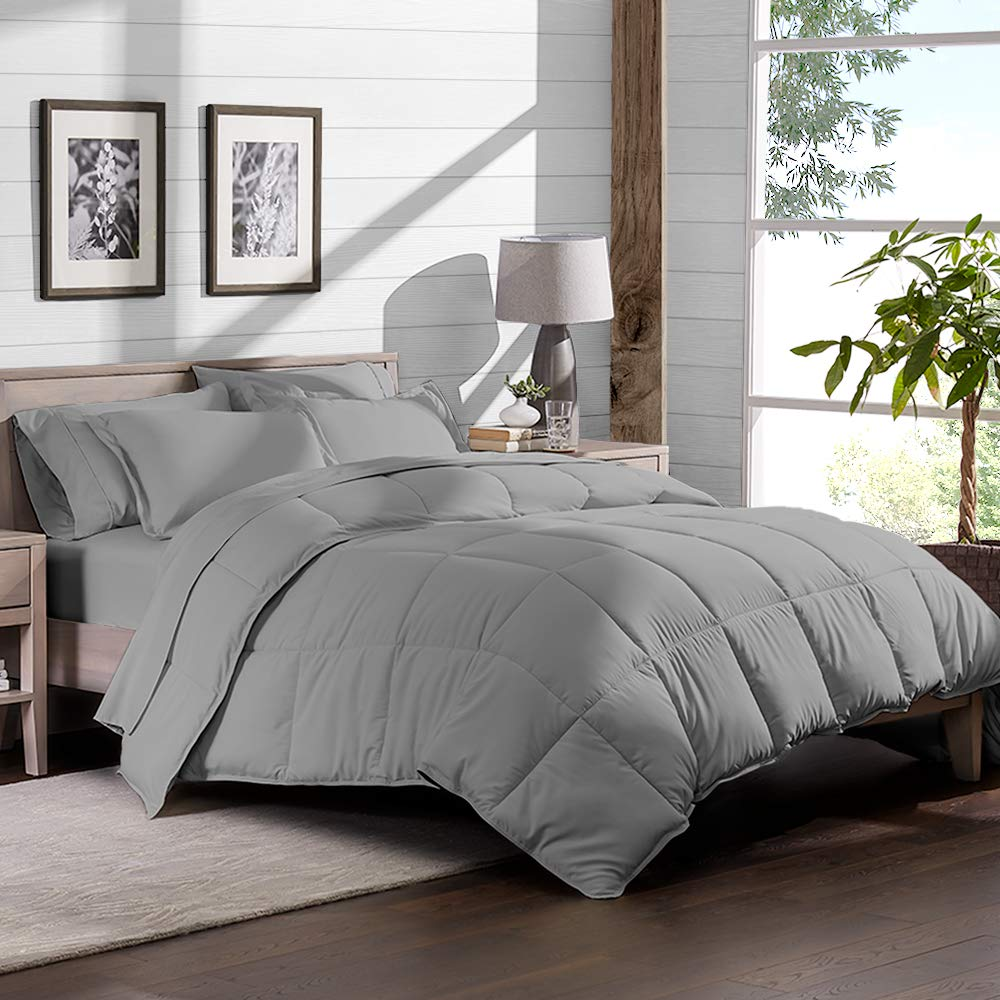 5 piece bed in a bag twin comforter set light grey sheet set light grey