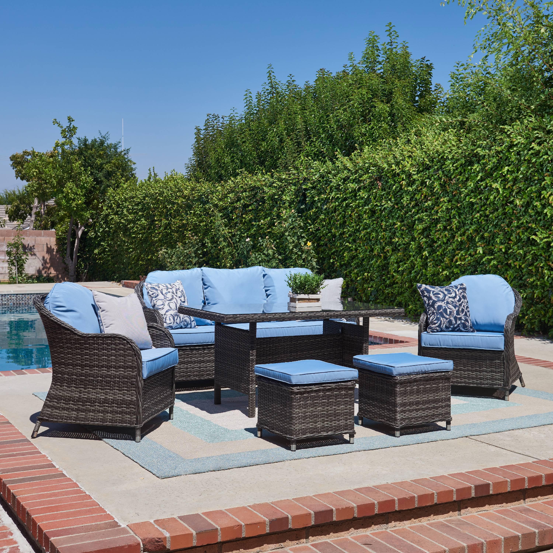 atrani collection 6 piece outdoor conversation and dining set grey light blue walmart com