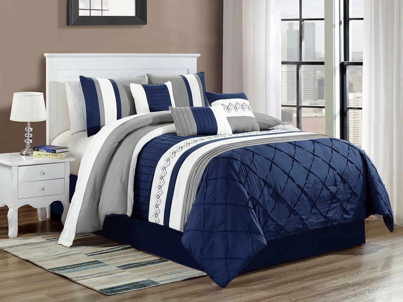 7 pc riya diamond meander greek key pleated stripe comforter set navy blue white gray queen