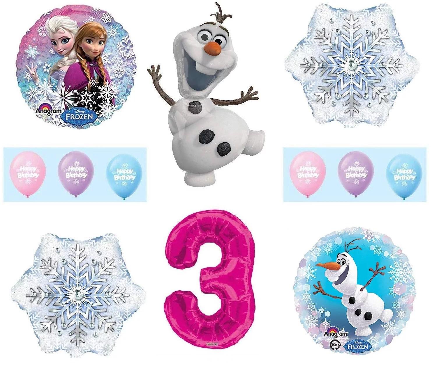 Frozen 3rd Birthday Anna Elsa Olaf Snowman Snowflake 12 Piece Birthday Party Balloons Bouquet Set Pink Walmart Com Walmart Com