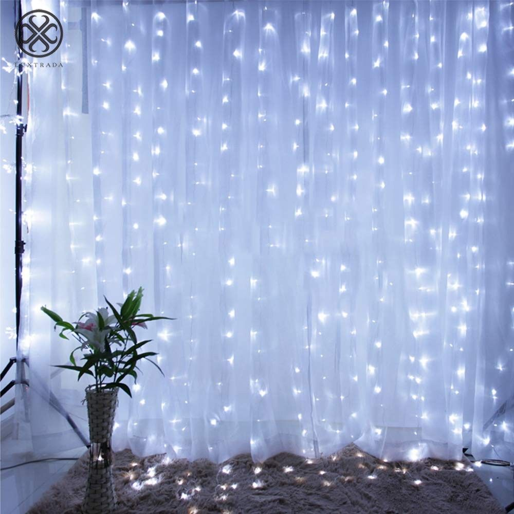 luxtrada window curtain fairy lights 300 led 8 modes usb string hanging wall lights with remote for home garden wedding outdoor indoor decoration xmas