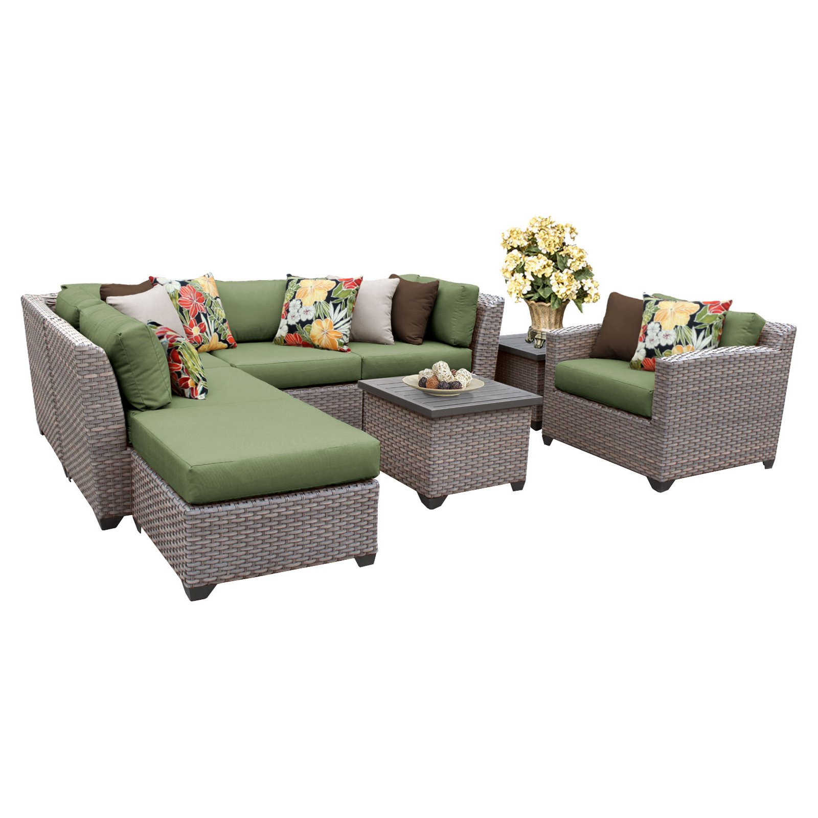 tk classics florence wicker 8 piece patio conversation set with end table and 2 sets of cushion covers