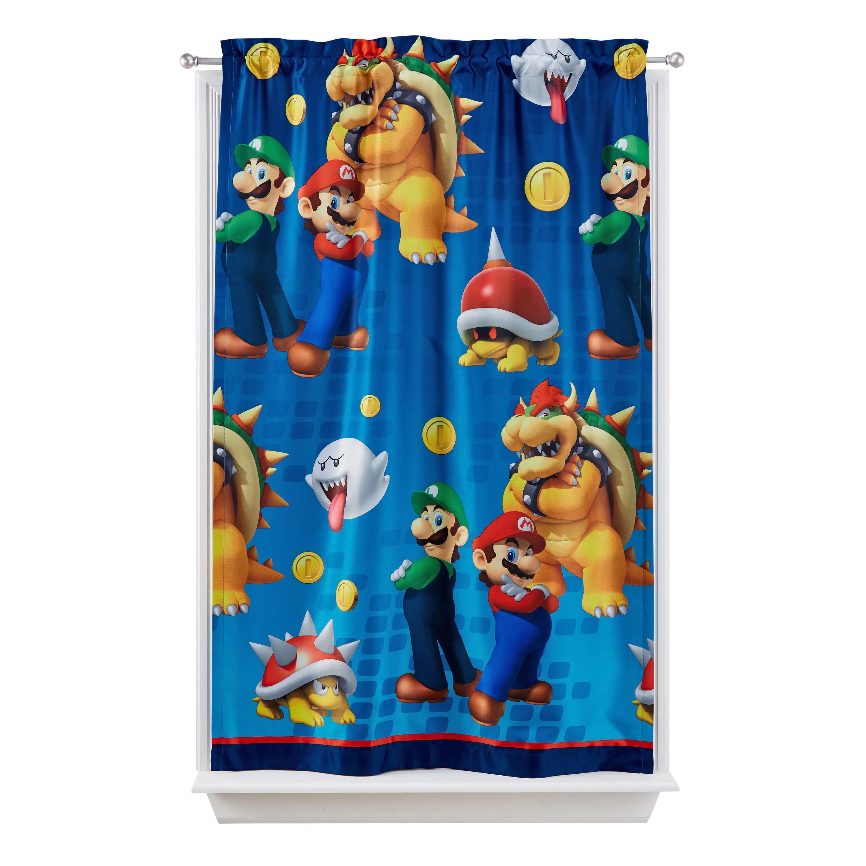 super mario kids lights off room darkening curtain panel 63 inch l walmart com