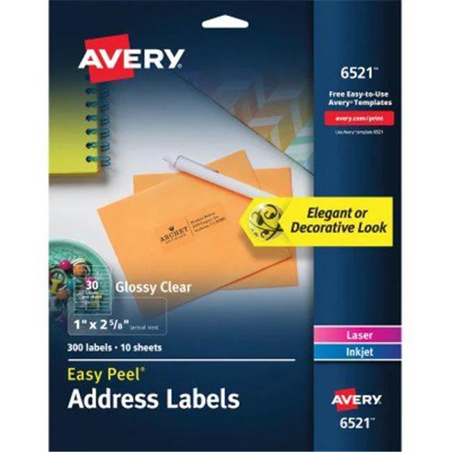 avery 6521 1 x 2 62 in add label clear 300 per pack