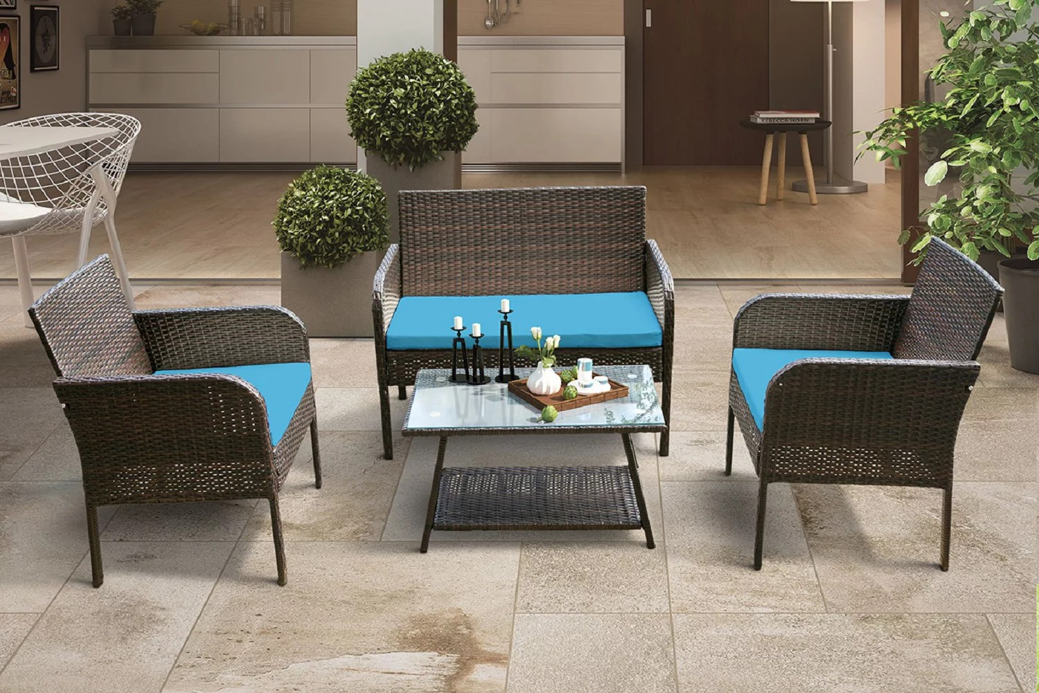 segmart 4 piece outdoor wicker furniture sets patio furniture rattan furniture conversation sets with seat cushions tempered glass coffee dining
