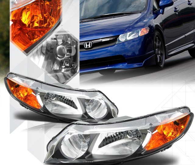 Black Housing Headlight Amber Turn Signal Reflector For 06 11 Honda Civic Sedan 07 08