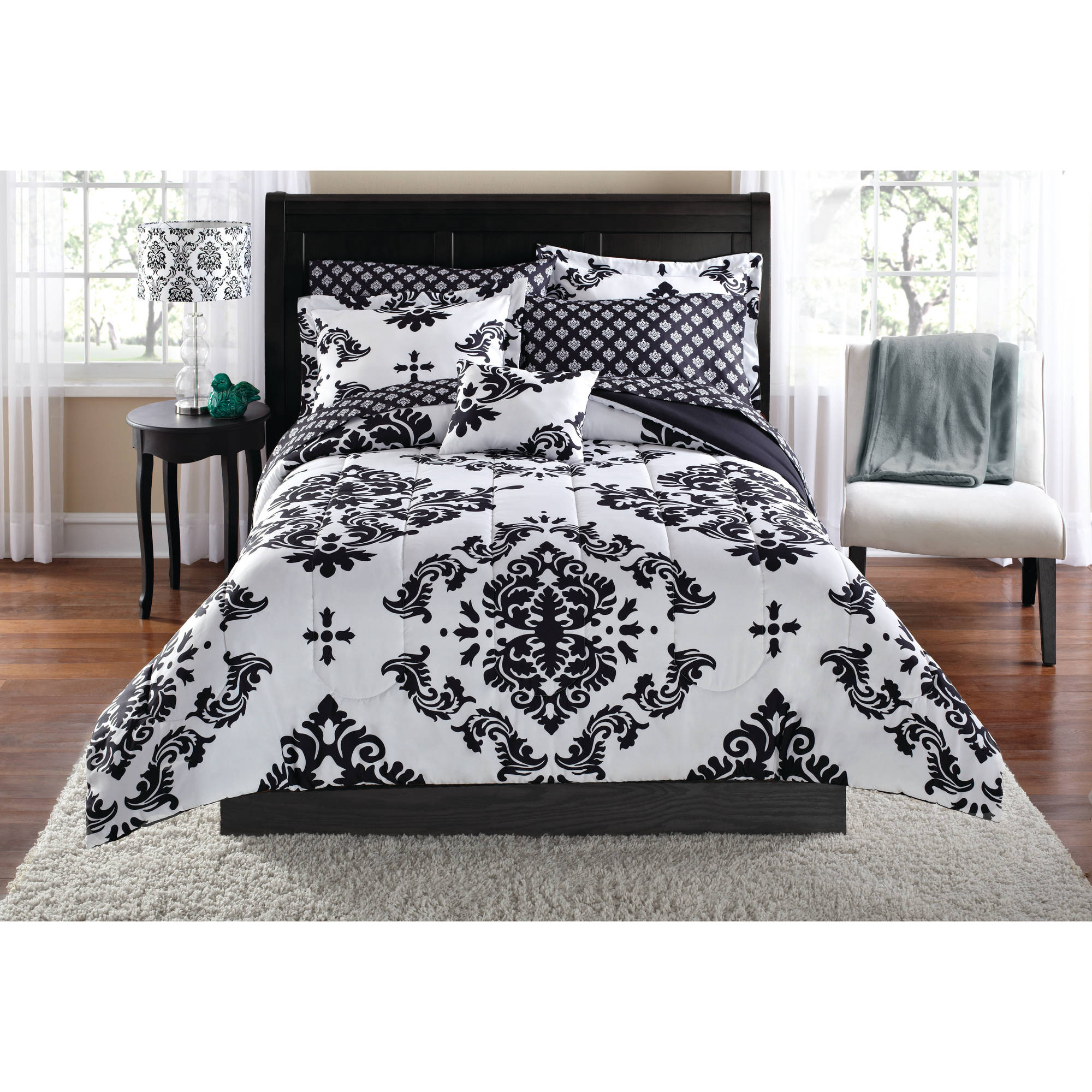mainstays classic noir 7 8 piece bed in a bag bedding comforter set twin twinxl black