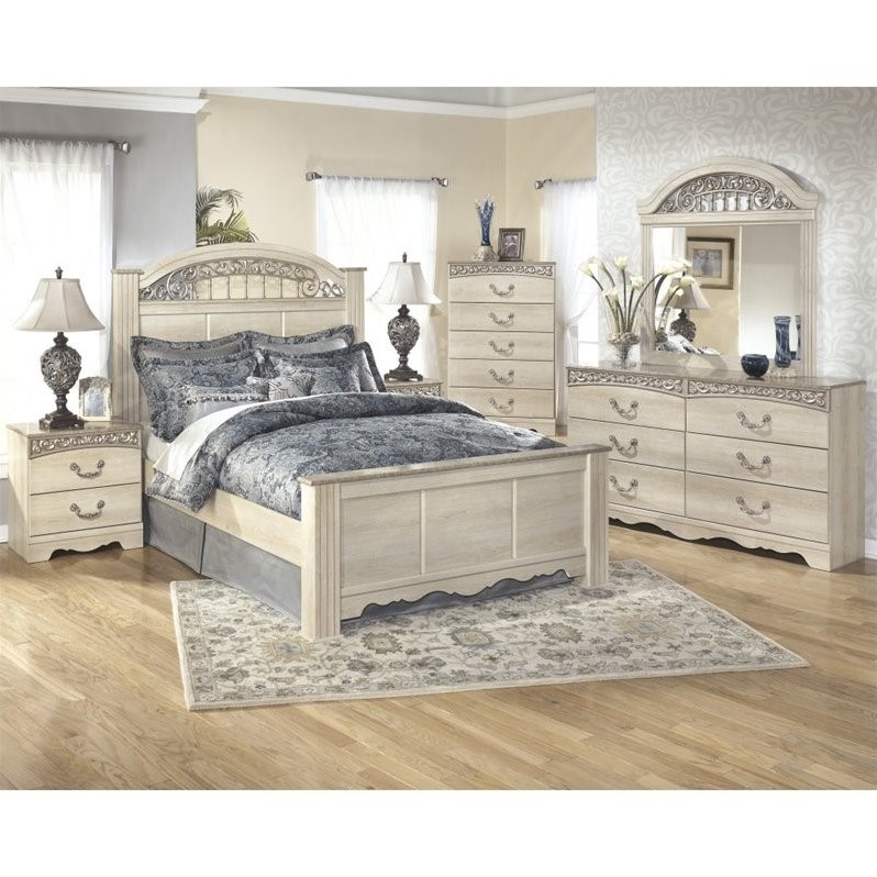 ashley catalina 6 piece wood queen panel bedroom set in white