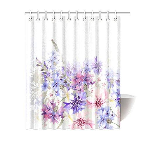mypop lavender shower curtain purple pink cornflowers classic design gentle floral art wedding decorations fabric bathroom decor with hooks 60 x 72